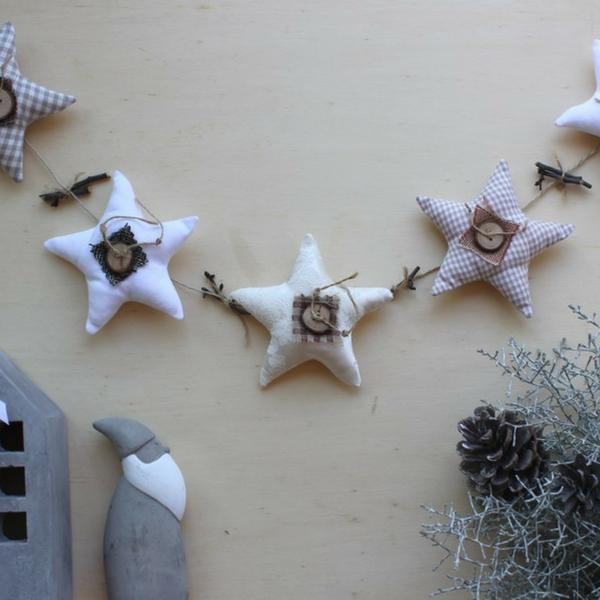 Sternkette als Dekoration für Wohn- und Kinderzimmer nähen oder als Adventskalender