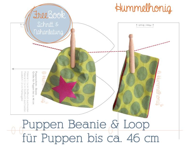 Mütze und Loop für Puppen nähen mit Nähanleitung von Hummelhonig