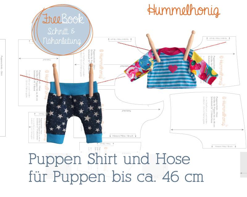 Für Puppen nähen mit gratis Schnittmuster und Nähanleitung von Hummelhonig