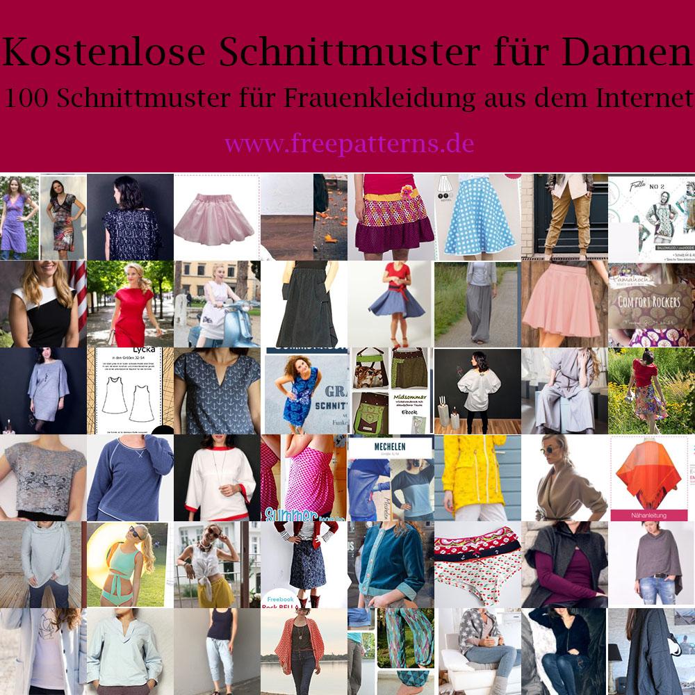 Shirt, Kleid, Rock, Jacken und Sonstiges für Frauen nähen mit gratis Schnittmuster