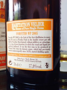 Habitation Velier Forsyths WP 2005 rum review by the fat rum pirate Worthy Park