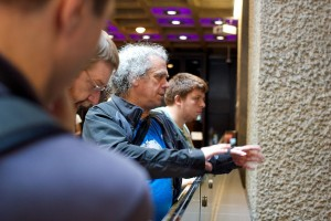 Fabian giving a tour of the Barbican Centre during Wikimania 2014