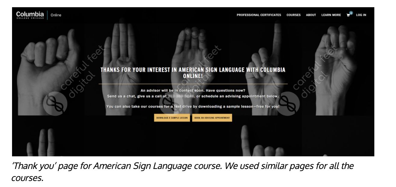 Columbia College of Chicago landing page for ASL