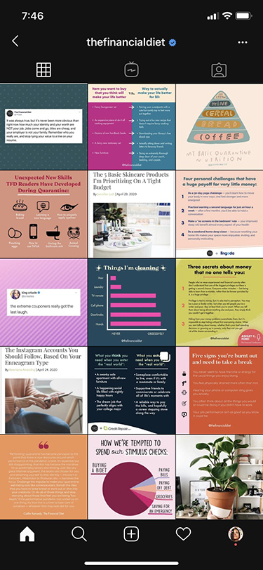 An example of poor social media branding. High quality infographics that aren't spaced out with other types of  images, causing a cluttered looks.