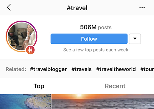 screenshot of #travel page on instagram for iOS