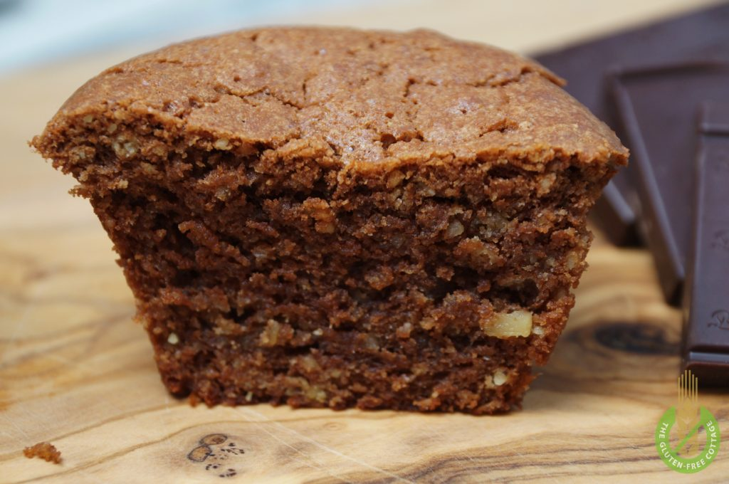 How to make gluten-free chocolate walnut muffins.
