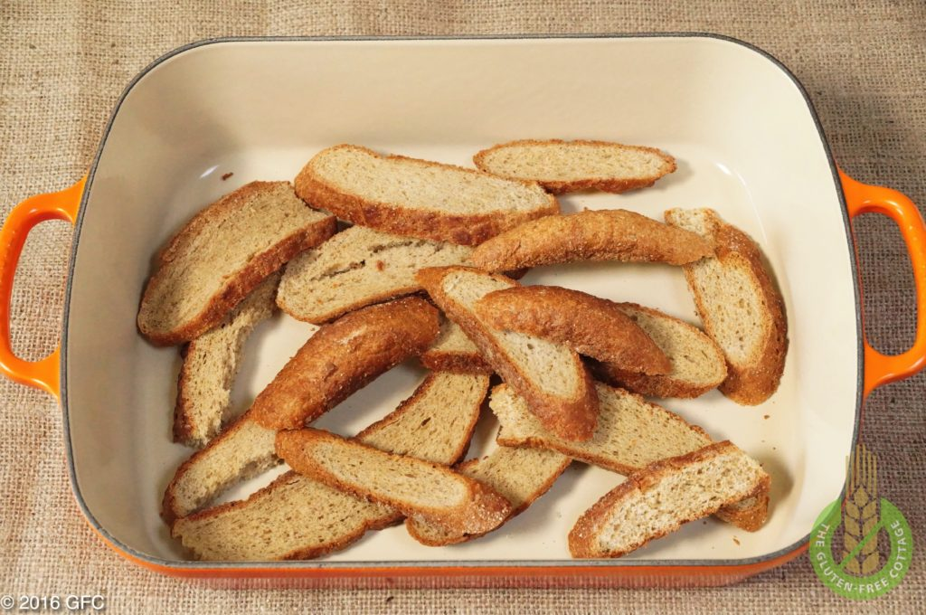 Dry old gluten-free bread cut into pieces and then put into the oven (gluten-free bread crumbs).