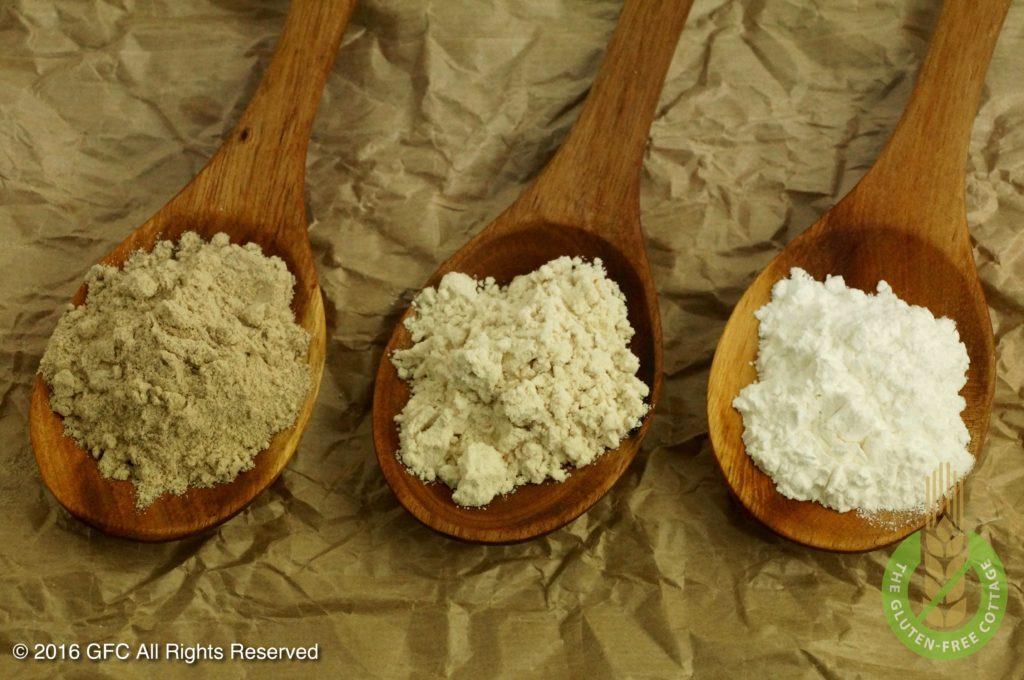 Teff flour, brown rice flour and tapioca starch (gluten-free upside down apple pie/ tarte tatin).