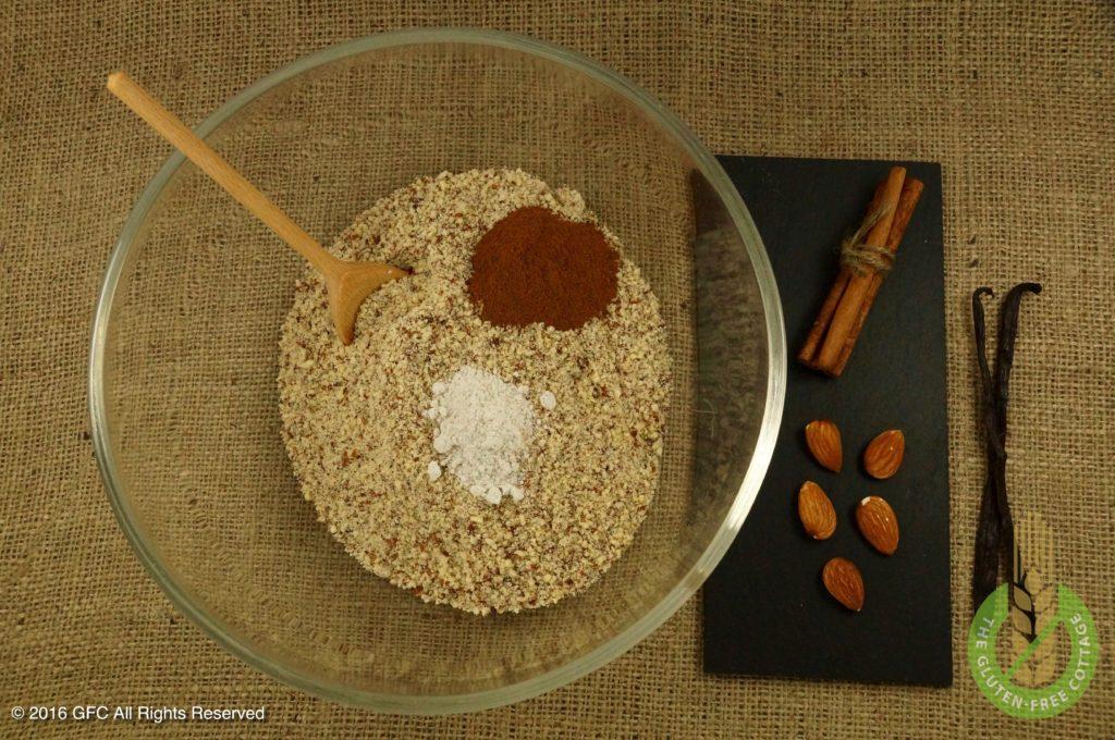 Mix all dry ingredients (gluten-free cinnamon cookies).