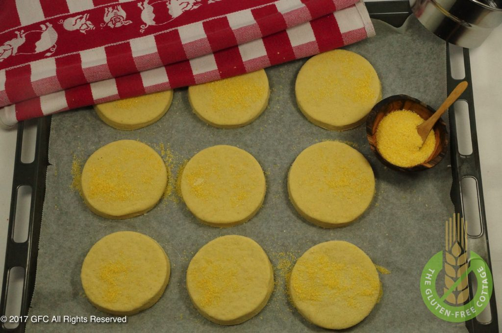 Prepare for a second rise (gluten-free eggs Benedict/ gluten-free English muffins).