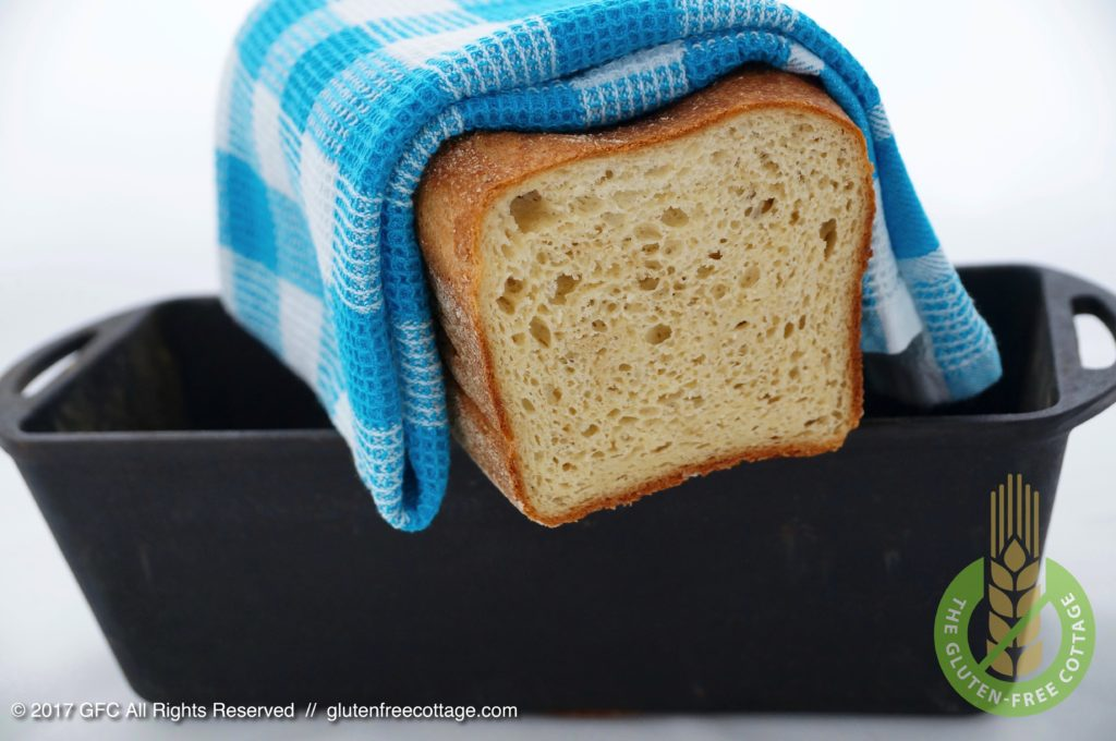 Crispy, soft and chewy bread baked in a cast-iron baking pan (gluten-free sandwich bread).