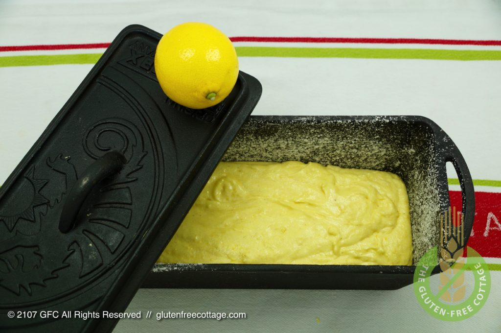 Pour the dough in a cast-iron baking pan and cover with a lid (gluten-free lemon cake).