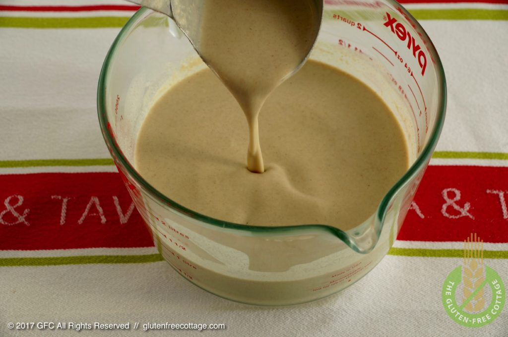 The combined crepe batter needs to have a quite thin consistency (gluten-free sweet and savory crepes).