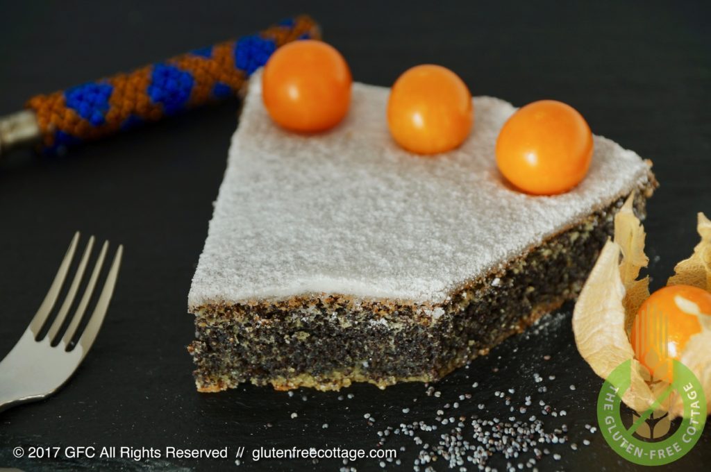 Gluten-free poppy seed cake with lemon icing glaze.