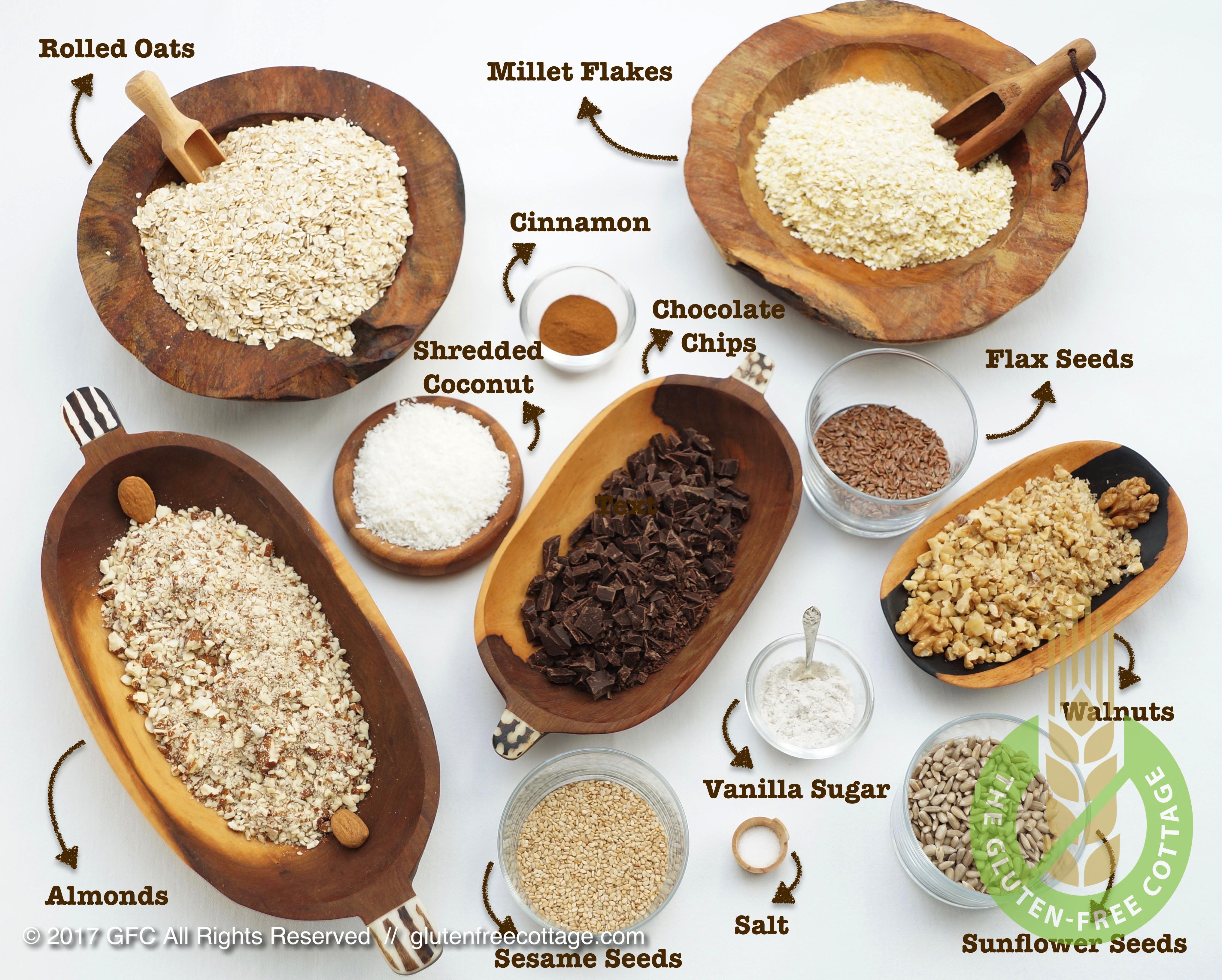 Dry ingredients (gluten-free granola cookies).