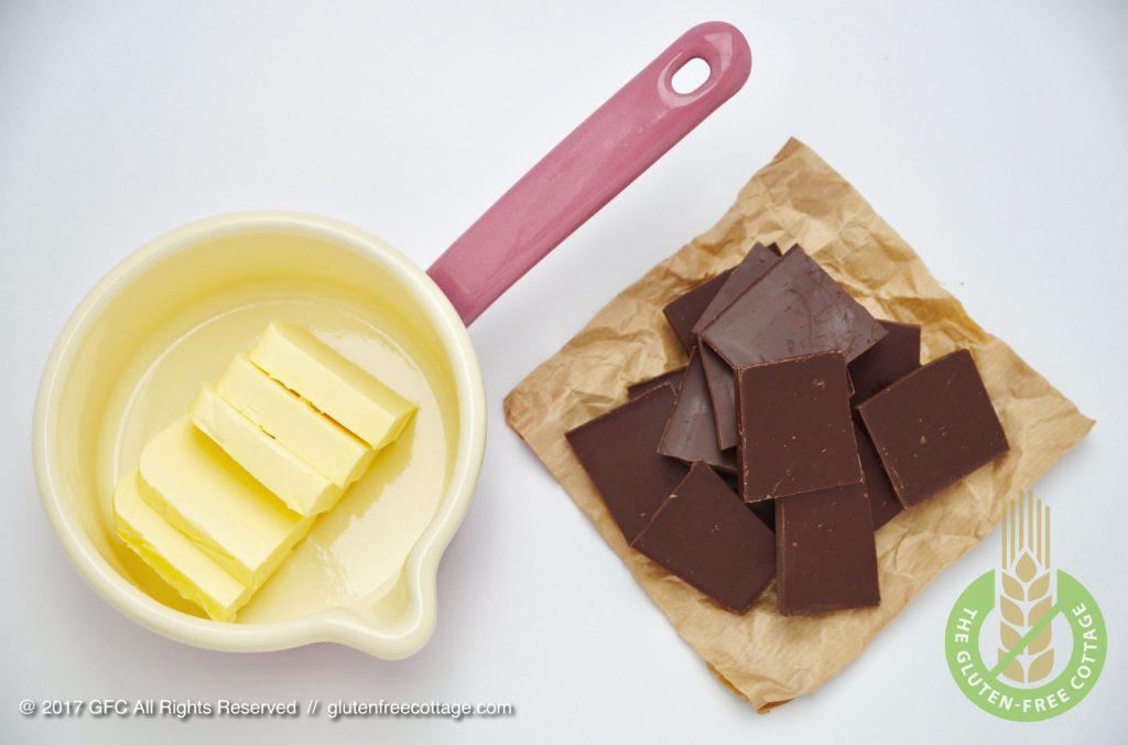 Ingredients for chocolate glaze (gluten-free banana cake with chocolate glaze).