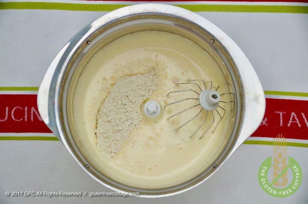 Making of gluten-free batter from scratch (gluten-free banana cake with chocolate glaze).