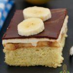 Piece of gluten-free banana cake with chocolate glaze.