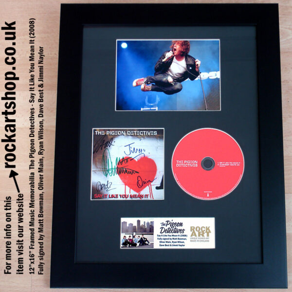 PIGEON DETECTIVES CD FULLY AUTOGRAPHED ALL 5 FRAMED