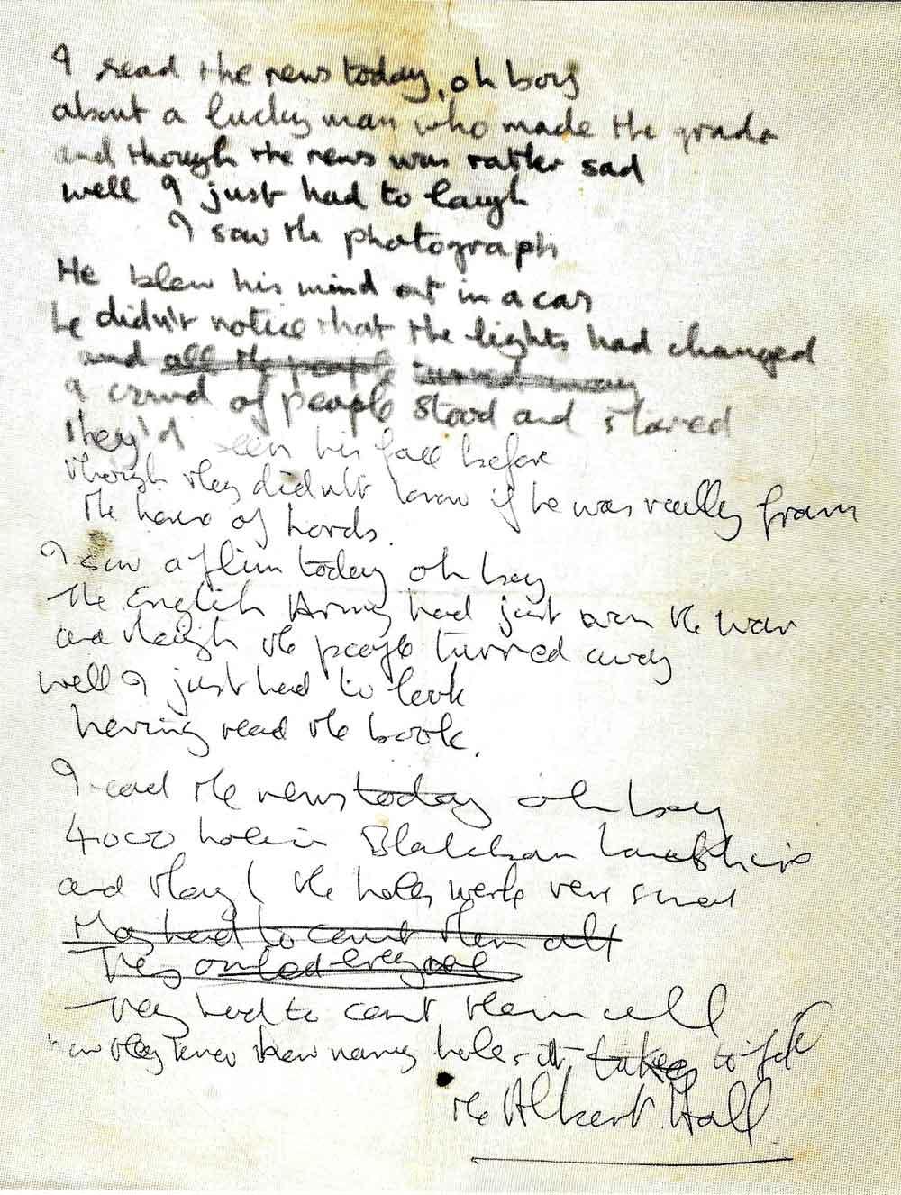 John Lennon's Handwritten Lyrics for The Beatles A Day in the Life