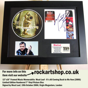 MEAT LOAF ITS ALL COMING BACK TO ME NOW SIGNED MUSIC MEMORABILIA