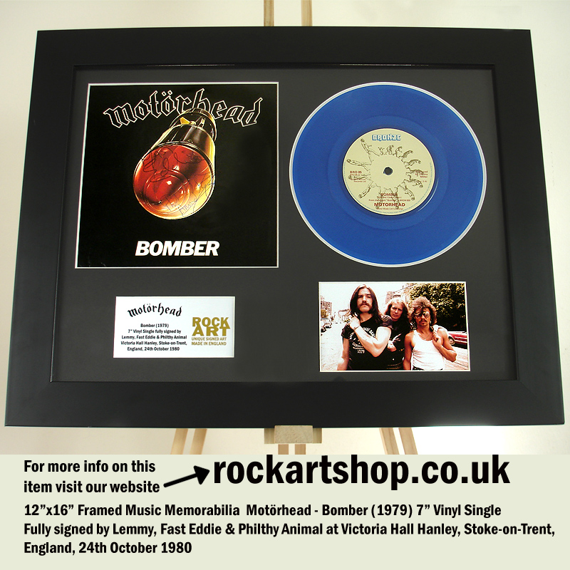 MOTORHEAD BOMBER VINYL FULLY SIGNED LEMMY +FAST EDDIE +PHILTHY ANIMAL