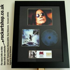 OZZY OSBOURNE SIGNED SCREAM CD FRAMED MUSIC MEMORABILIA