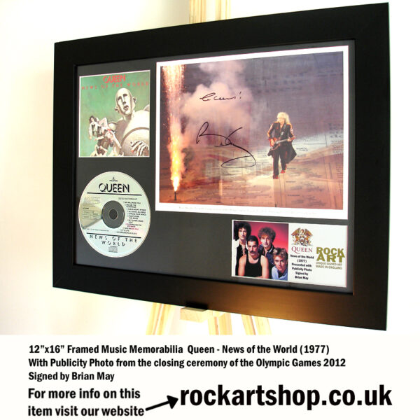 QUEEN NEWS OF THE WORLD SIGNED BRIAN MAY PHOTO MUSIC MEMORABILIA