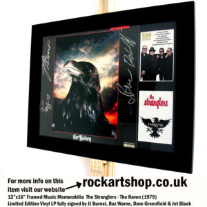 THE STRANGLERS THE RAVEN SIGNED JJ BURNEL +JET BLACK +DAVE+BAZ