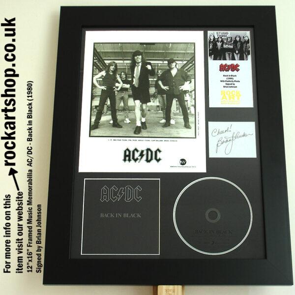 AC/DC BACK IN BLACK AUTOGRAPHED BRIAN JOHNSON MEMORABILIA