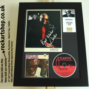 RAY CHARLES AUTOGRAPHED PHOTO FRAMED MUSIC MEMORABILIA