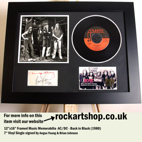 AC/DC BACK IN BLACK SIGNED ANGUS YOUNG BRIAN JOHNSON MEMORABILIA