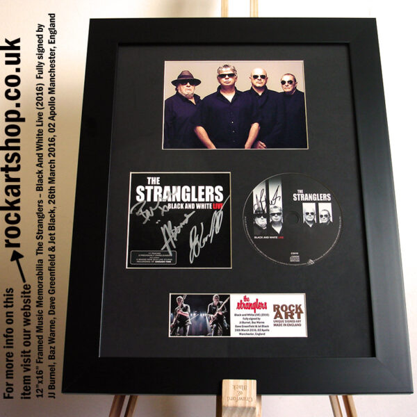 THE STRANGLERS BLACK & WHITE SIGNED JJ BURNEL +JET BLACK +DAVE+BAZ