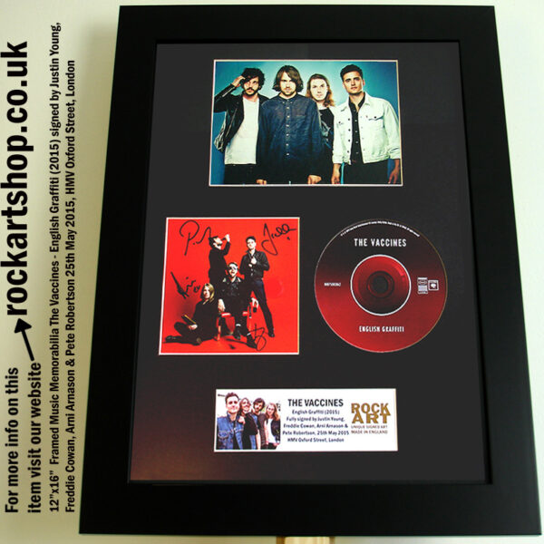 THE VACCINES ENGLISH GRAFFITI SIGNED JUSTIN YOUNG FREDDIE ARNI PETE