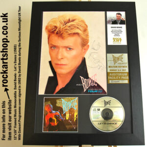 DAVID BOWIE LETS DANCE SIGNED 1983 SERIOUS MOONLIGHT AUTOGRAPH