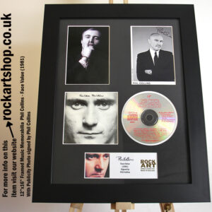 PHIL COLLINS SIGNED FACE VALUE PROMO PHOTO AUTOGRAPHED FRAMED