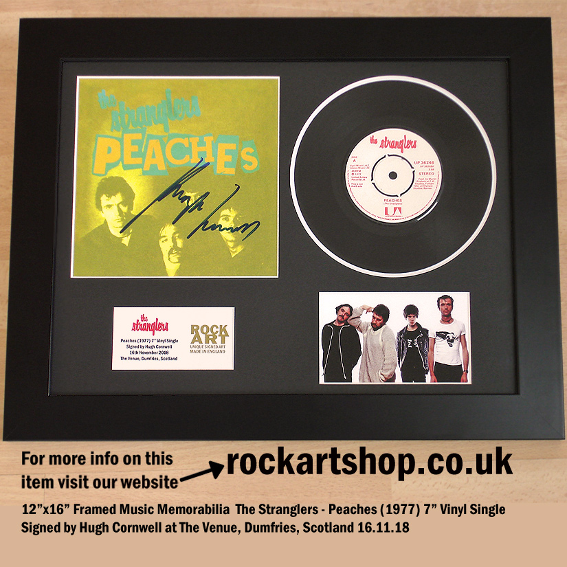 THE STRANGLERS PEACHES VINYL SINGLE SIGNED BY HUGH CORNWELL