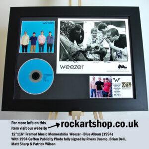 WEEZER BLUE ALBUM AUTOGRAPHED RIVERS CUOMO+BRIAN +MATT+PATRICK