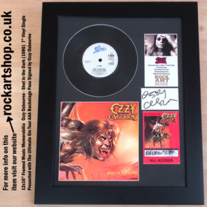 OZZY OSBOURNE AUTOGRAPHED SHOT IN THE DARK FRAMED VINYL SINGLE