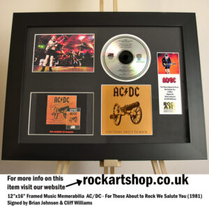 AC/DC FOR THOSE ABOUT TO ROCK SIGNED BRIAN JOHNSON CLIFF WILLIAMS