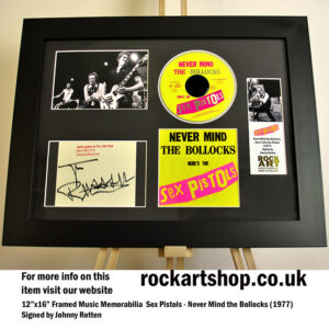SEX PISTOLS SIGNED JOHNNY ROTTEN NEVER MIND THE BOLLOCKS