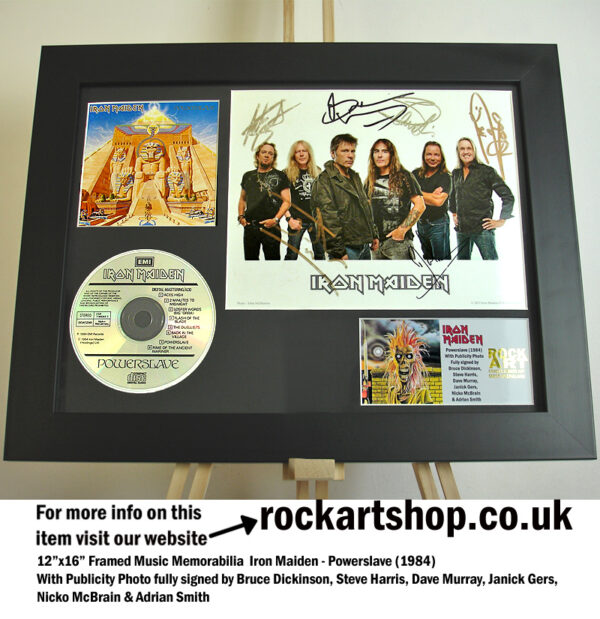 IRON MAIDEN POWERSLAVE SIGNED BRUCE+STEVE +DAVE+ADRIAN +JANICK+NICKO