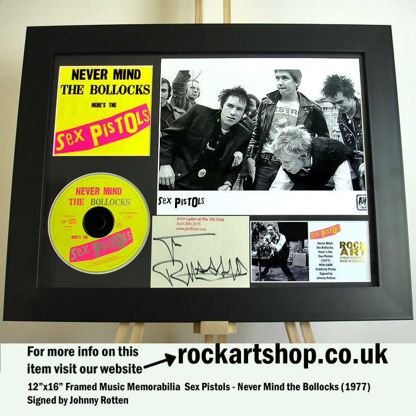SEX PISTOLS SIGNED JOHNNY ROTTEN NEVER MIND THE BOLLOCKS PHOTO