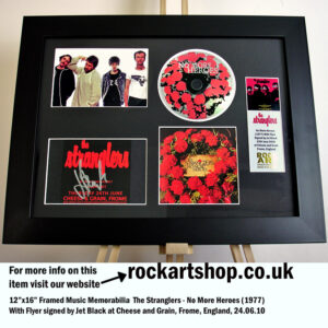 THE STRANGLERS NO MORE HEROES SIGNED JET BLACK MUSIC MEMORABILIA