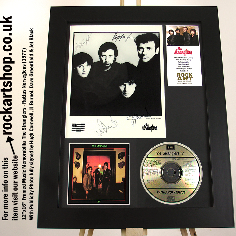 THE STRANGLERS RATTUS FULLY SIGNED HUGH DAVE JJ BURNEL JET BLACK
