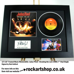 JUDAS PRIEST ROB HALFORD SIGNED BREAKING THE LAW VINYL SINGLE