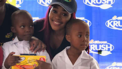 Photo of Thembi Seete Visits Limpopo School And Donates 1000 School Shoes #KrushGoodness