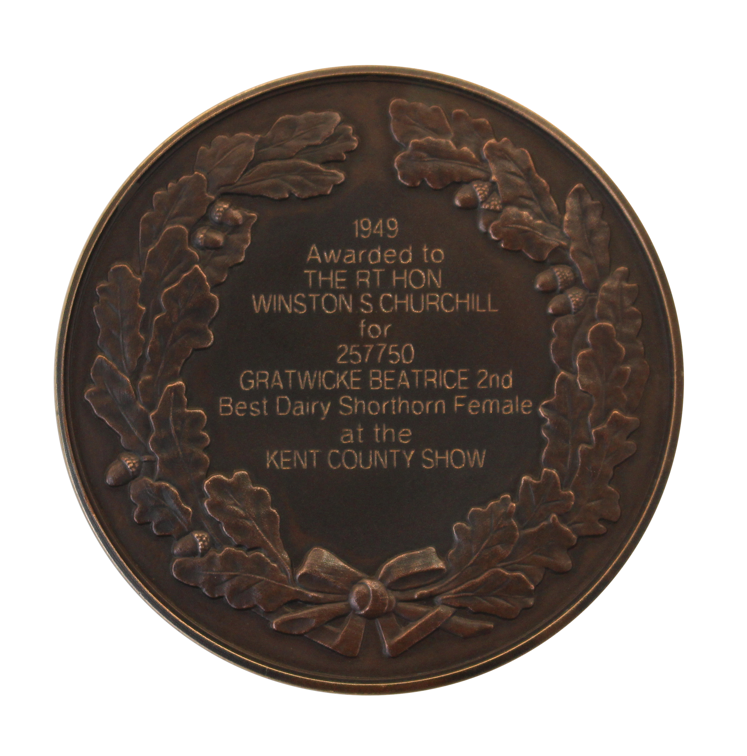 National Trust. Winston Churchill's Shorthorn Cow Medal Reverse