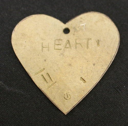 Silver Heart Pendant. Brass template for the shape