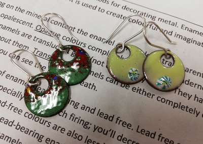Enamelled earrings 1